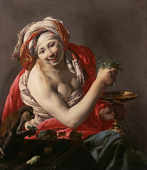 Hendrick ter Brugghen - Bacchante with an Ape  (1627), 100 x 90 cm, Getty Museum, Los Angeles