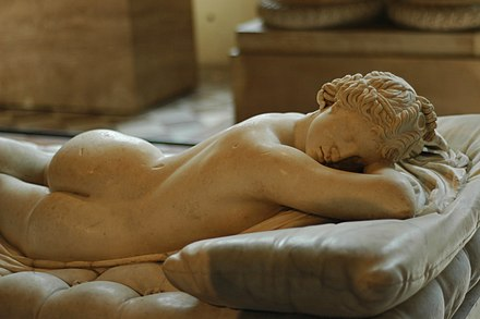 Detail of the Borghese Hermaphroditus, Roman copy 2nd century CE (Louvre). - Hermaphroditus