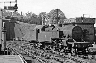 LMS Fowler 2-6-4T - 42421 at Hibel Road station in 1959 - this is one of the Fowler 4MTs with later style side window cabs.