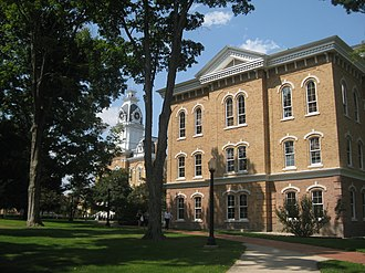 Hillsdale College - Delp Hall and the Liberty Walk, facing Central Hall