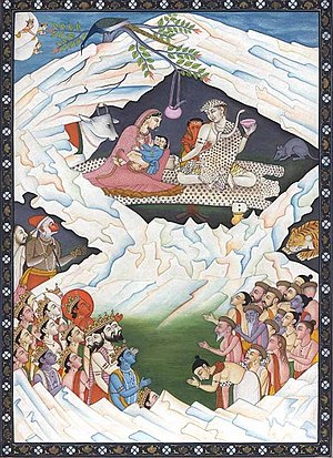 Axis mundi - Mount Kailash, depicting the holy family:  Shiva and Parvati, cradling Skanda with Ganesha by Shiva's side
