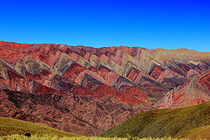 Flatiron (geomorphology) - Colorful flatirons in the Serranía de Hornocal of Jujuy Province, Argentina