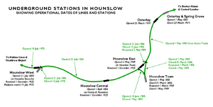 Hounslow Central tube station - Map showing operational dates for lines and stations in Hounslow