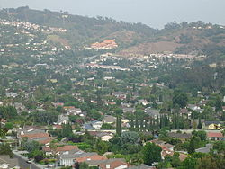 The view of Hacienda Heights, with Hsi Lai Temple and Puente Hills in the background