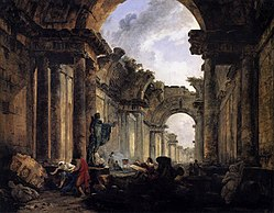 Hubert Robert: Imaginary View of the Grande Galerie in the Louvre in Ruins