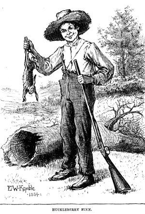 Rabbiting - ''Huckleberry Finn, illustration by E. W. Kemble from the original 1884 edition of the book by Mark Twain