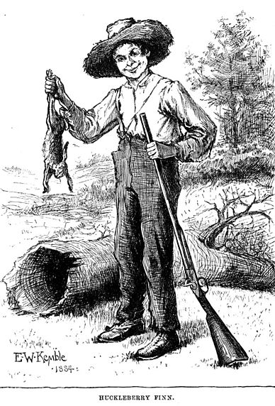 An illustration of Huckleberry Finn by Edward Winsor Kemble
