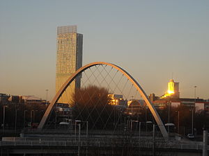 Beetham Tower, Manchester - A humming noise emanating from the tower has been heard in Hulme. (Hulme Arch Bridge pictured in foreground)