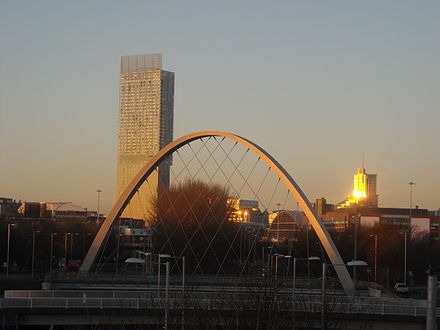 A humming noise emanating from the tower has been heard in Hulme. (Hulme Arch Bridge pictured in foreground) Hulme Arch Beetham in sunset.jpg