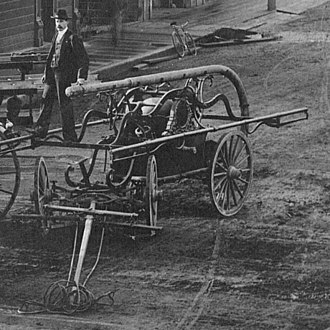 Ferndale, California -  The Hunneman end-stroke torrent pumper used by Ferndale for over 40 years pictured outside the Victorian Inn about 1890.