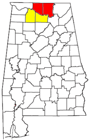 Decatur Metropolitan Area, Alabama - Decatur Metropolitan Statistical Area is shaded in yellow.  Decatur MSA is part of the Huntsville-Decatur CSA (shown in yellow and red).