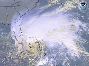 Hurricane Michelle - Hurricane Michelle undergoing extratropical transition over the Bahamas on November 5