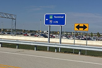 Interstate 70 in Indiana - Interstate 70 sign outside of Indianapolis International Airport