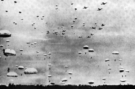 Imperial Japanese Army paratroopers are landing during the Battle of Palembang, February 13, 1942. IJA-paratroopers-Palembang-11.jpg