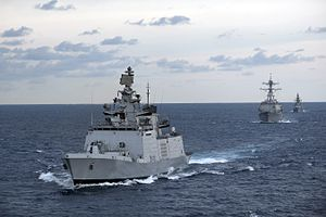 INS Satpura and USS Bunker Hill during Malabar 2012.jpg