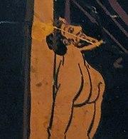 Ulysse attaché au mât pour pouvoir écouter les sirènes, détail d'une amphore à figures rouges conservées au British Museum