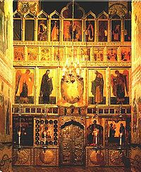 Iconostasis in the Cathedral of the Annunciation in Moscow Kremlin