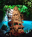 Idol of Goddess Durga being worshipped in a Panadal at Kolkata 05.jpg