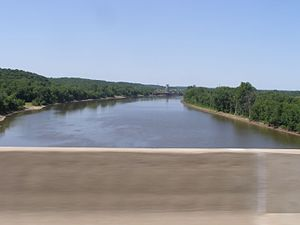 Potawatomi Trail of Death - Illinois River at I-74 and U.S. 36. Five miles north at Naples, Illinois, the Potawatomi Trail of Death caravan crossed the Illinois River by Ferry.