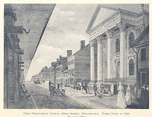 Presbyterian Church in the United States of America - Illustration of the original First Presbyterian Church in Philadelphia located on High Street (now Market Street). First Presbyterian was the meeting place for both the first presbytery and first synod.