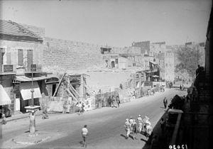 Mamilla - British demolition of buildings along the Old City walls, 1944