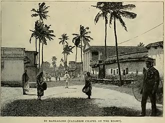 Avenue Road, Bangalore - In Bangalore (Canarese Chapel on the right), 1890