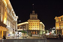 Independence square, Sofia at night PD 2012 3.JPG