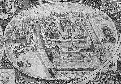 Inname van het kasteel van Breda, detail uit een prent in het Koninklijk Huisarchief - Breda - 20039862 - RCE