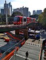 Inner West Light Rail passing above the CBD and South East Light Rail 20180408.jpg