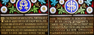 Thomas Fortescue, 1st Baron Clermont - Inscriptions in 1878 stained glass window in Buckland Filleigh Church, Devon, erected jointly by Thomas Fortescue and his younger brother Chichester