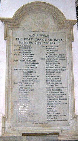 General Post Office (Mumbai) - 'Roll of honour display board'