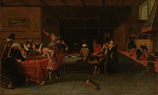 Interior with gamblers and drinkers
