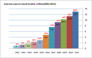Educational technology in Saudi Arabia - Image: Internet usage in ksa