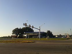 Gas station and traffic light at St. Stephens Church, October, 2016