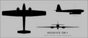 Interstate TDR-1 three-view silhouette