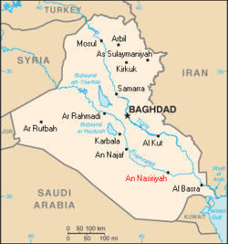 Location of Naṣiriyah, Iraq