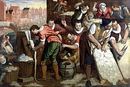 Isaac Claesz. van Swanenburg - The Removal of the Wool from the Skins and the Combing - WGA21986.jpg