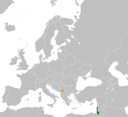 Map indicating locations of Israel and Kosovo