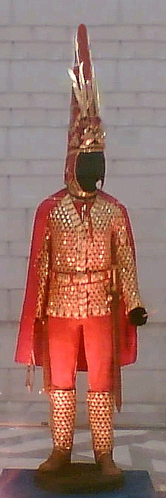"Cataphract - The cataphract-style parade armor of a Saka (Scythian) royal from the Issyk kurgan, dubbed ""Golden Man"". Note the overlapping golden scales, which is typical of cataphract armor."
