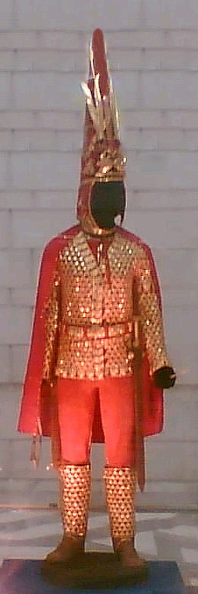 "A cataphract-style parade armour of a Saka royal, also known as ""The Golden Warrior"", from the Issyk kurgan, an historic burial near ex-capital city of Almaty, Kazakhstan Issyk Golden Cataphract Warrior.jpg"