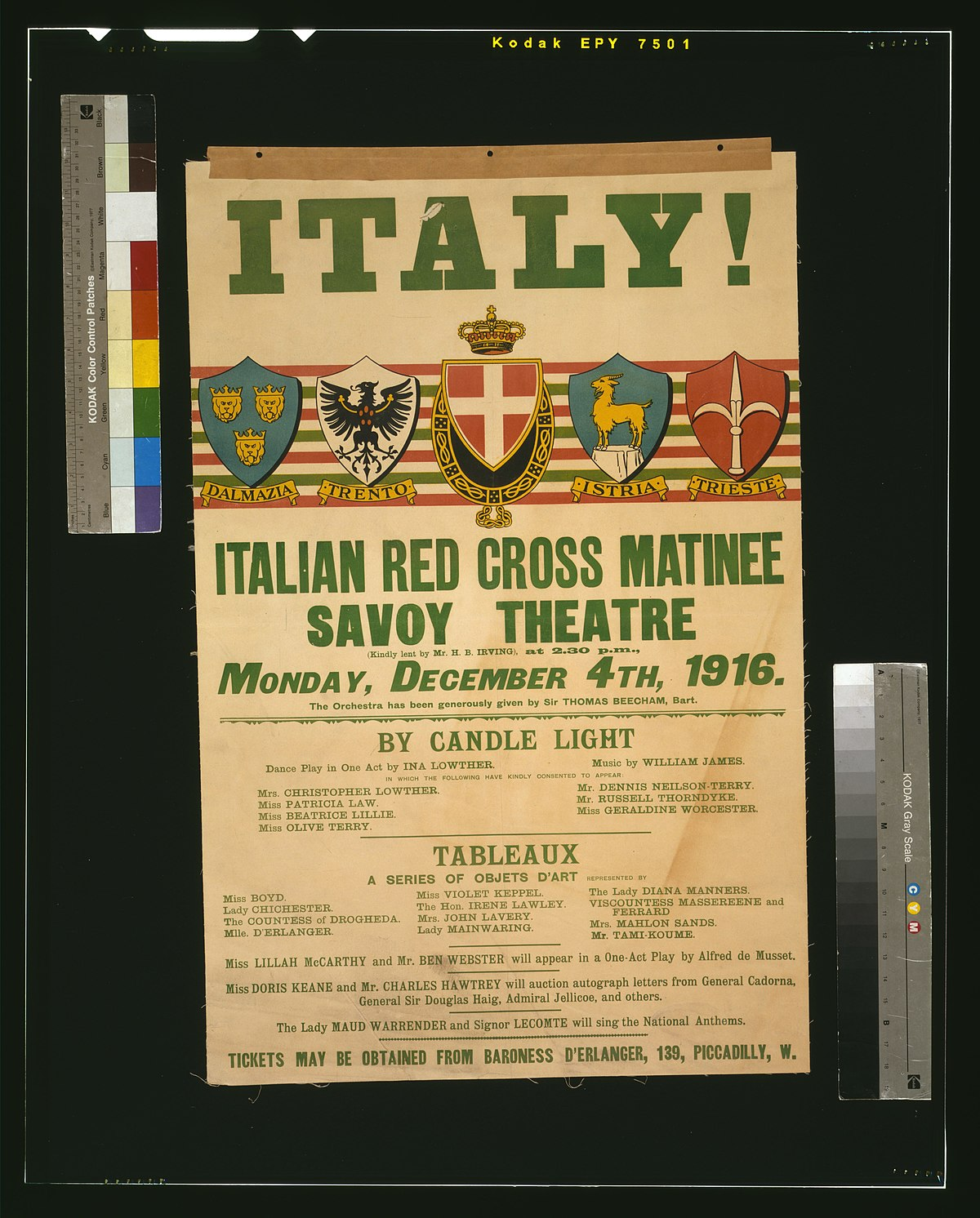 File Italy Italian Red Cross Matinee Savoy Theatre Monday