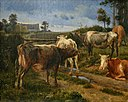 J. Th. Lundbye, Bellowing cows by the fence gate, 1847, 0093NMK, Nivaagaards Malerisamling.jpg
