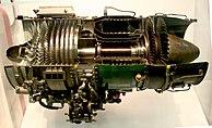Vista en corte de un General Electric J85, un turborreactor de flujo axial diseñado en los años 1950 utilizado por el Northrop F-5 y otros aviones militares.