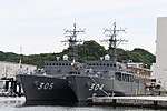 JS Awaji(MSO-304) & Hirado(MSO-305) left front view at JMSDF Yokosuka Naval Base April 30, 2018.jpg
