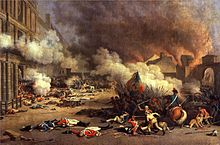 Smoke is billowing throughout the top two-thirds of the picture, dead guards are scattered in the foreground, and a battle with hand-to-hand combat and a horse is in the bottom right.