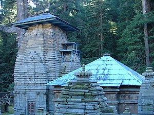 Nageshvara Jyotirlinga - The temples at Jageshwar, in the background of Darukavana, the holy Deodar forest.
