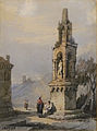 James Baker Pyne attr. (Attributed to) - Watercolour - Figures in landscape with monument - 27x37cm.jpg