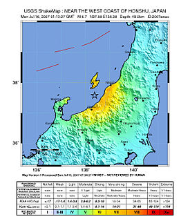 earthquake struck Niigata prefecture, Japan on 16 July 2007