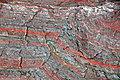 Jaspilite banded iron formation (BIF) (Negaunee Iron-Formation, Paleoproterozoic, 1.874 or 2.11 Ga; Jasper Knob, Ishpeming, Michigan, USA) 44 (47970186272).jpg