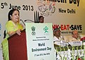 "Jayanthi Natarajan addressing at the World Environment Day function on the theme ""Think, Eat, Save Reduce Your Foodprint"" , in New Delhi on June 05, 2013.jpg"